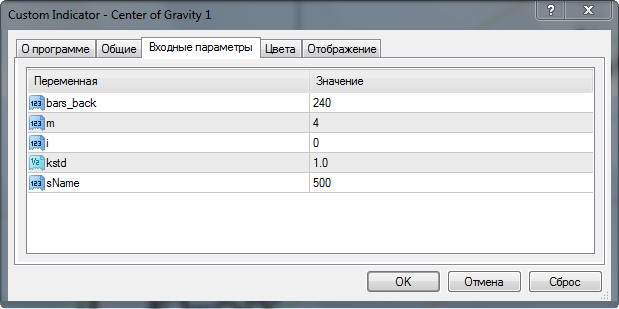 параметры center of gravity